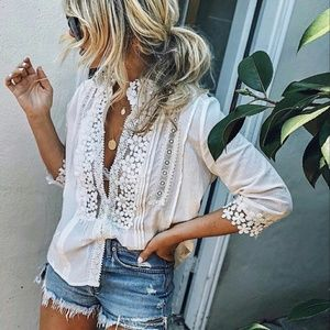 Tops - Boho chioc embroidered lace top - IVORY
